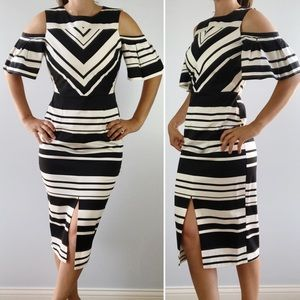 ASOS Black & White Fitted Sheath Midi Dress